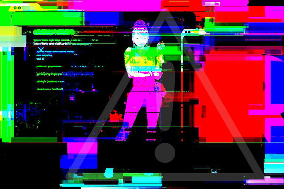 Bright colors distort an image of a woman and the Team Rocket logo