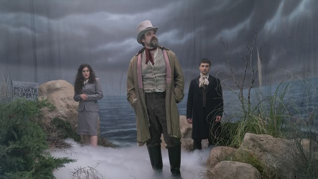 Kate Berlant, David Harbour, and Alex Ozerov in Frankenstein's Monster's Monster, Frankenstein.