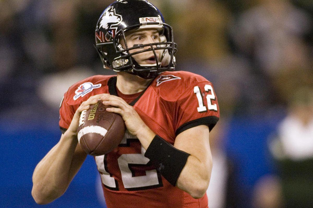 FILE - In this Jan. 2, 2010, file photo, Northern Illinois quarterback Chandler Harnish looks to pass against South Florida during the first half of the International Bowl NCAA college football game in Toronto. The Indianapolis Colts selected Harnish, the