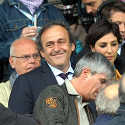 UEFA President Michel Platini, of France, attends the Serie A soccer match between Novara and Juventus at the Silvio Piola Stadium in Novara, Italy, Sunday, Apr 29, 2012.
