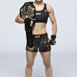 Zhang Weili poses for a portrait during a UFC photo session on April 21, 2021 in Jacksonville, Florida.