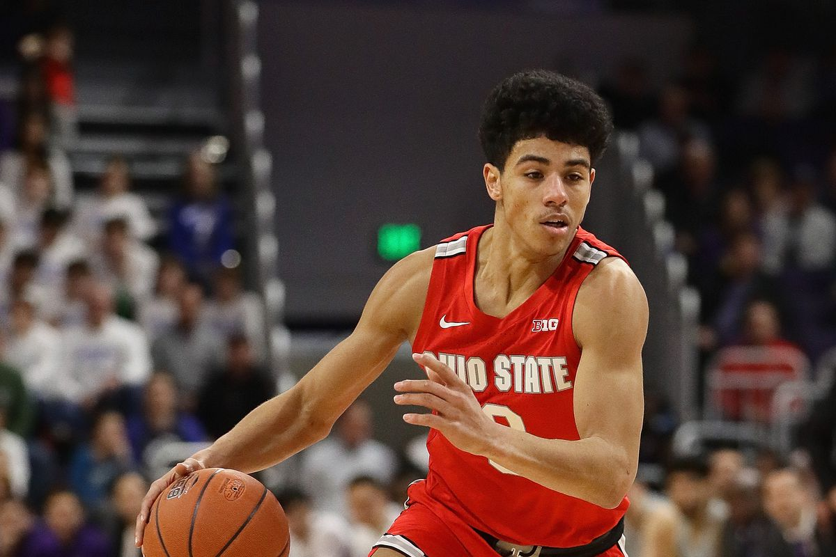 D.J. Carton of the Ohio State Buckeyes moves against the Northwestern Wildcats at Welsh-Ryan Arena on January 26, 2020 in Evanston, Illinois. Ohio State defeated Northwestern 71-59.