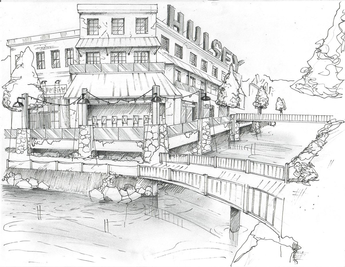 A sketch of the Hulsey River district, which would bring retail and residences to a complex over a waterway.
