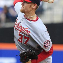 Washington Nationals' Stephen Strasburg (37) delivers a pitch during the first inning of a baseball game against the New York Mets Wednesday, April 11, 2012, in New York.