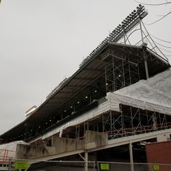 Wide view, left field upper and lower deck