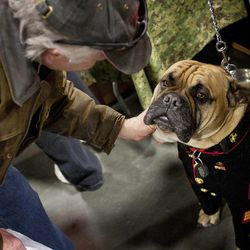 """""""Gunny Monster,"""" the mascot for the USMC Marine League West 1332nd detachment, gets some attention from a visitor at the South Towne Expo Center during the 2013 Rocky Mountain Gun Show, Saturday, Jan. 5, 2013."""