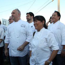 Left to right: chefs Michelle Bernstein, Michael Schwartz, Peter Vauthy, Victor Albisu, Lee Anne Wong, James Siao