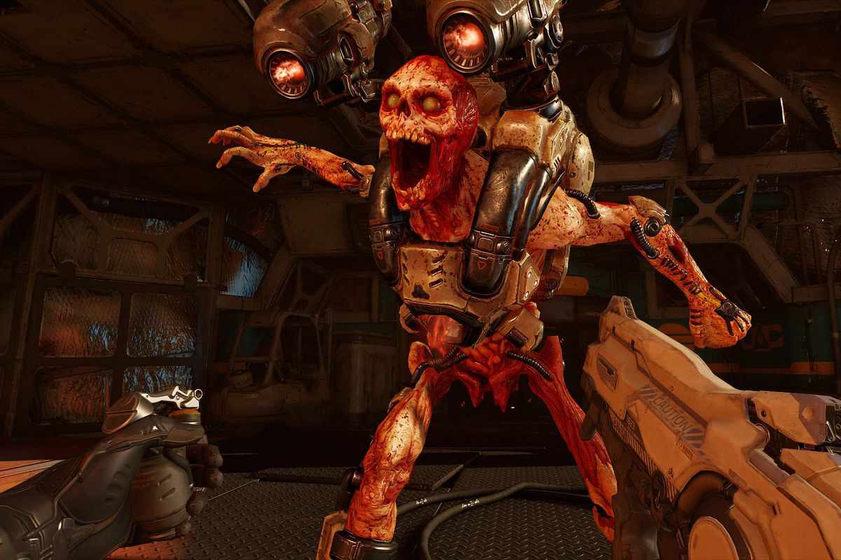 A demon is close to the player in Doom VFR