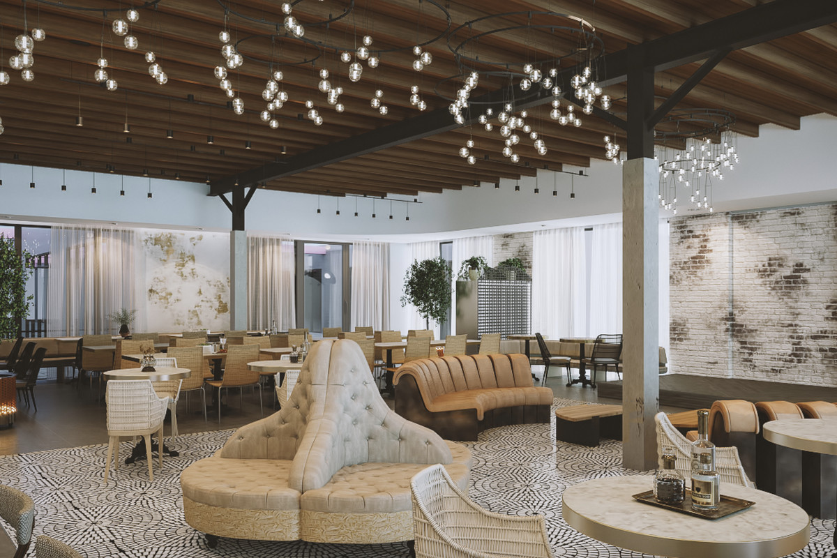 A rendering shows exposed bulbs hanging from the ceiling, several couches placed in the center of the room, and comfy-looking bar seats on the left
