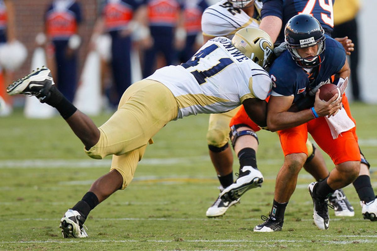 ATLANTA - OCTOBER 09:  Anthony Egbuniwe #41 of the Georgia Tech Yellow Jackets sacks quarterback Marc Verica #6 of the Virginia Cavaliers at Bobby Dodd Stadium on October 9, 2010 in Atlanta, Georgia.  (Photo by Kevin C. Cox/Getty Images)