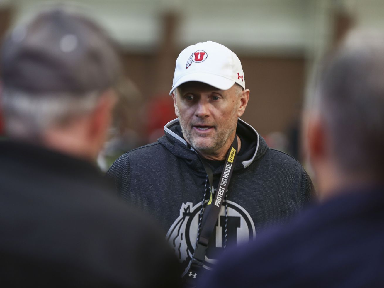 Utah Utes coach Kyle Whittingham speaks with members of the media after their spring training at the Spence and Cleone Eccles Football Center in Salt Lake City on Monday, March 4, 2019.