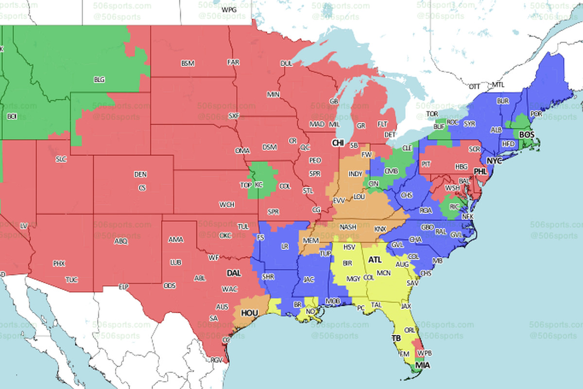 EaglesBears Game TV Coverage Map Bleeding Green Nation - Bleeding us map