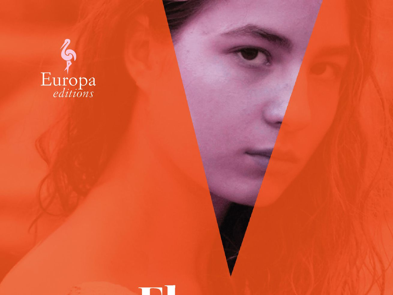 On the cover of this Elena Ferrante novel, a young woman looks out from inside a V of overlaid color.