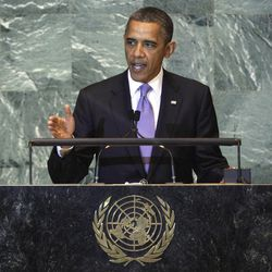 """FILE - In this Sept. 21, 2011, file photo President Barack Obama addresses the 66th session of the United Nations General Assembly. When the world's leaders gather in New York next week for the 67th session Obama has no plans to meet privately with any of them. He will, however, make time for """"The View,"""" a freewheeling TV talk show more likely to reach voters than Obama would with the diplomacy he is skipping at the United Nations."""
