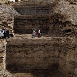 """This """"box cut"""" at the Enefit project site in Utah south of Vernal was made last summer to gather a bulk sample of the oil shale for testing. More than 600 tons of the rock have already been collected and several thousand tons more will be collected for testing this year. Courtesy, Enefit"""