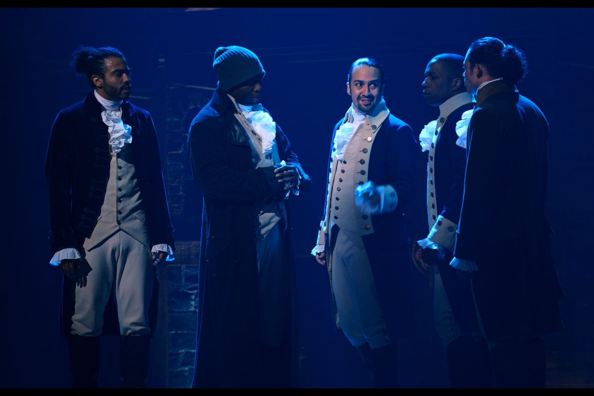 "Daveed Diggs is the Marquis de Lafayette, Okieriete Onaodowan is Hercules Mulligan, Lin-Manuel Miranda is Alexander Hamilton, Leslie Odom Jr. is Aaron Burr and Anthony Ramos is John Laurens in ""Hamilton,"" the filmed version of the original Broadway production."