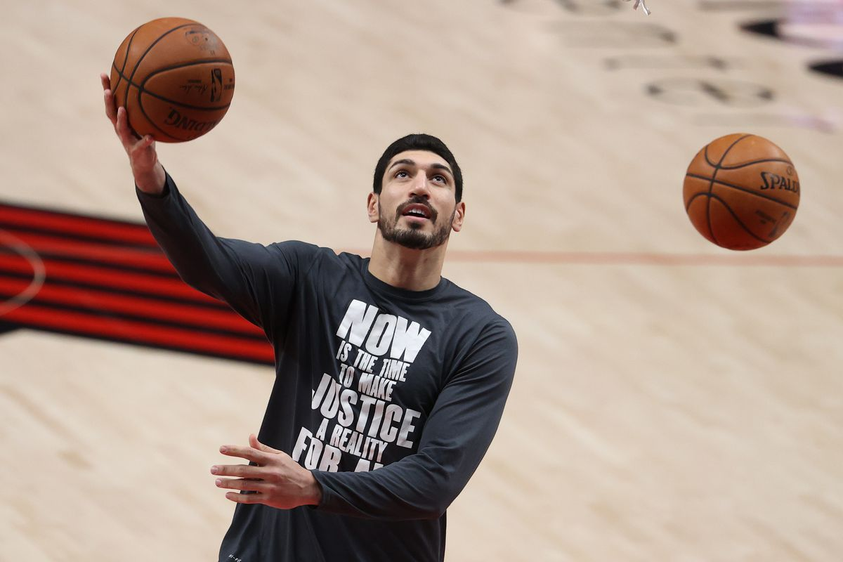 Enes Kanter of the Portland Trail Blazers warms up before their game against the San Antonio Spurs at Moda Center on January 18, 2021 in Portland, Oregon.