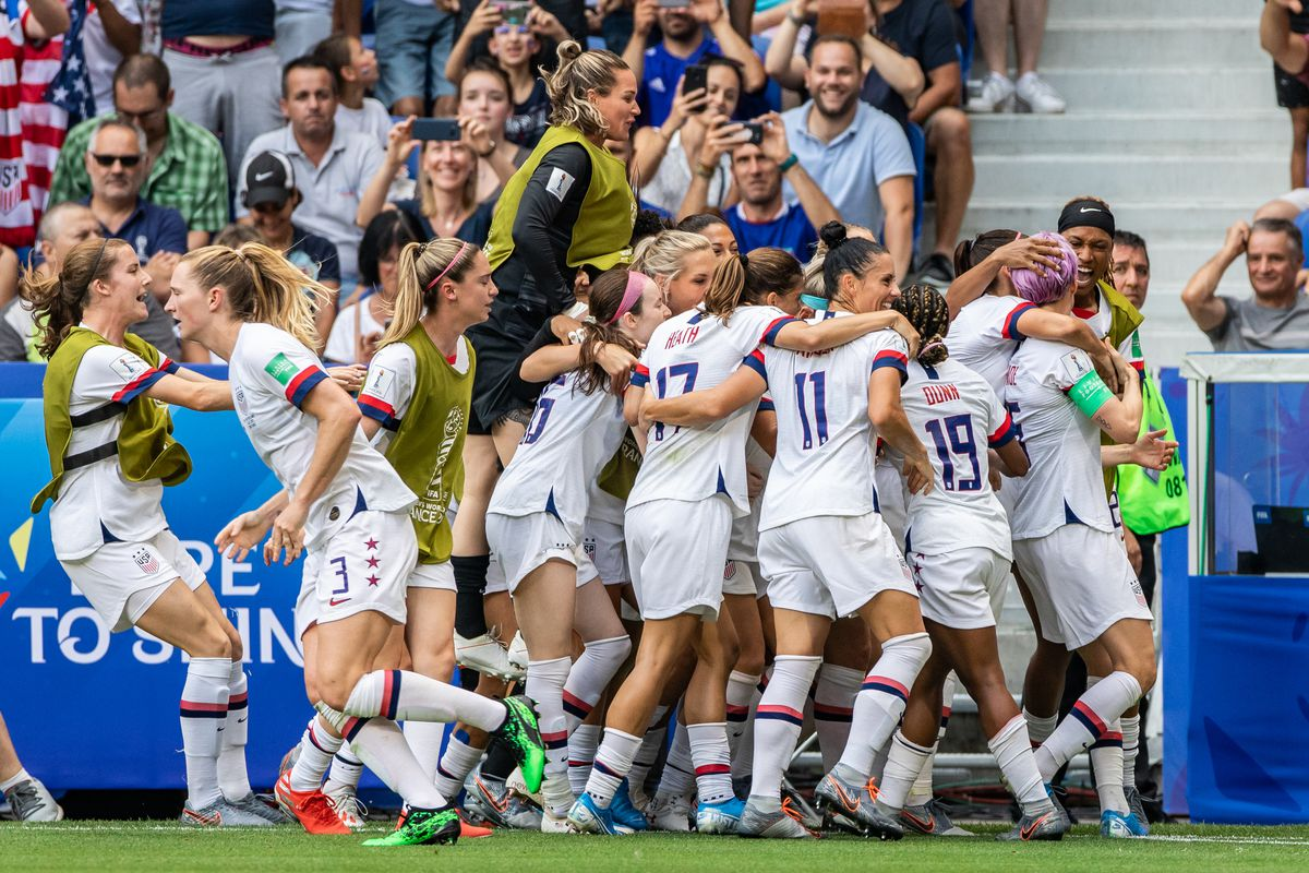 USA women's national team celebrating a goal during the 2019...