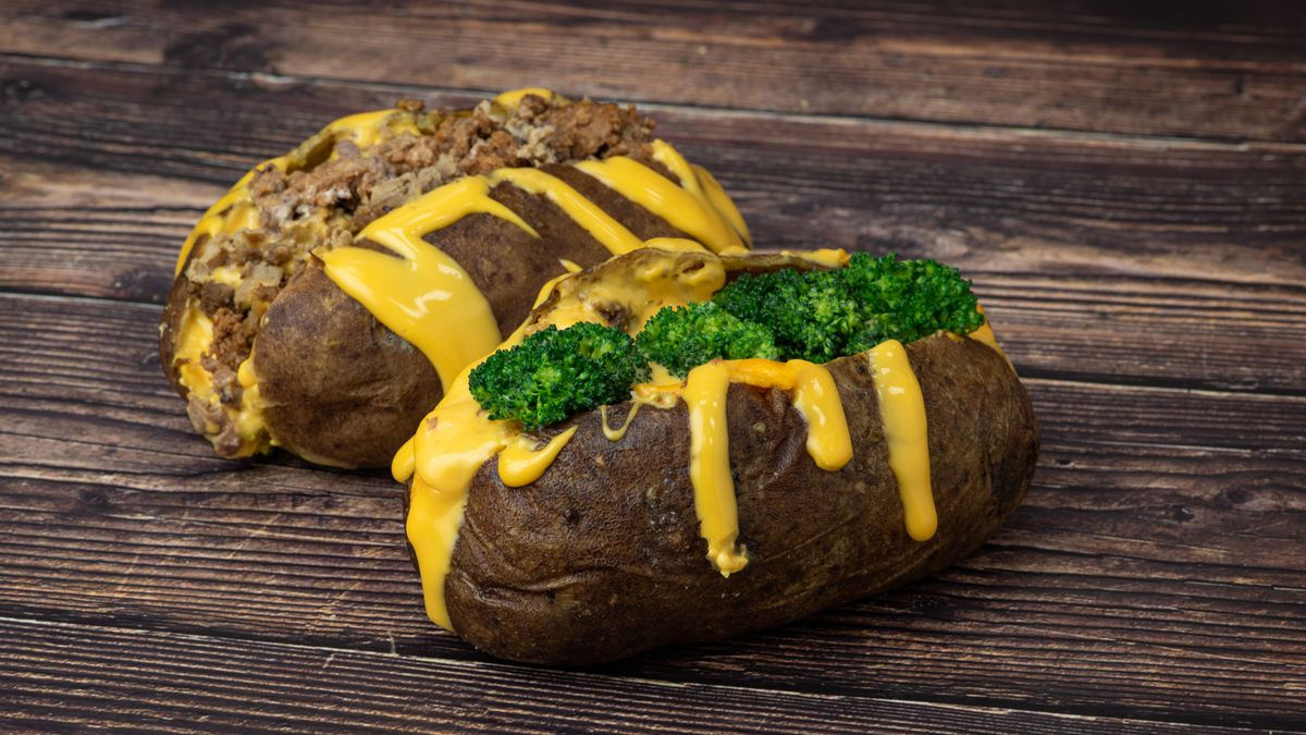 Pictured is a jumbo russet potato with broccoli and cheese at the Local Eats concession.