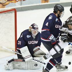 UConn's Rob Nichols (31) keeps his eyes on the puck.