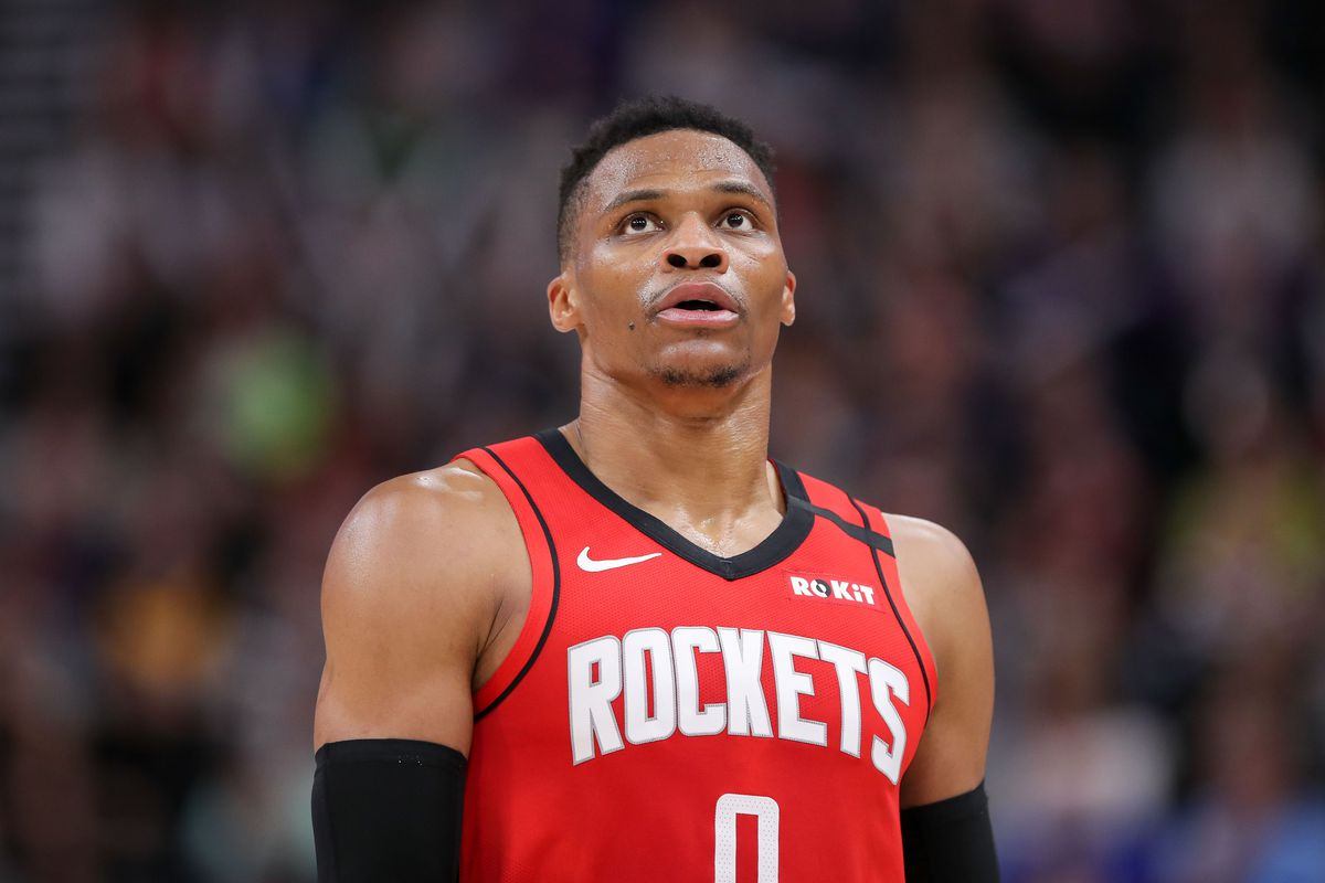 Houston Rockets guard Russell Westbrook reacts during the third quarter against the Utah Jazz at Vivint Smart Home Arena. The Rockets won 120-110.
