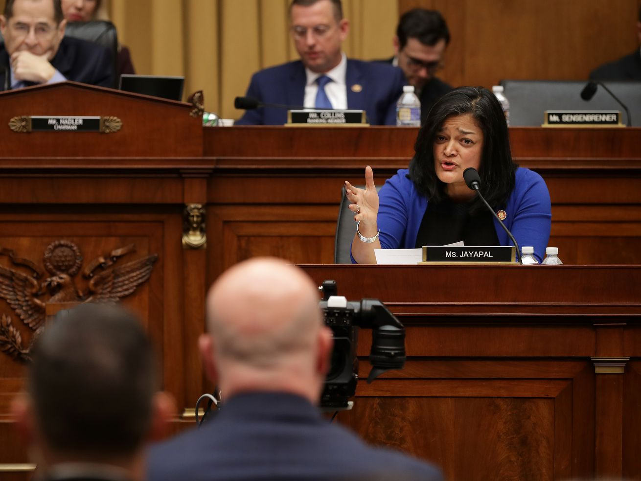 House Judiciary Committee member Pramila Jayapal (D-WA) questions acting Attorney General Matthew Whitaker on Capitol Hill on February 08, 2019.