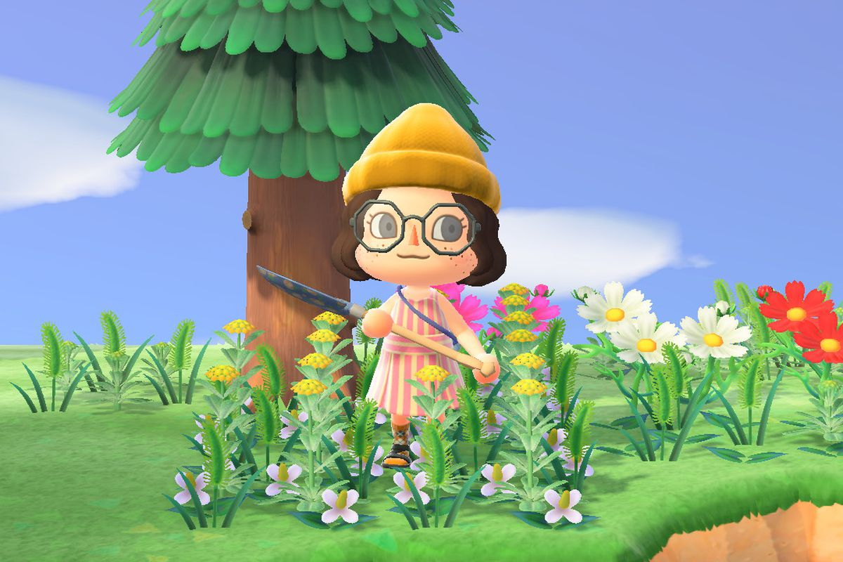 Animal Crossing avatar wearing a sun dress and socks and sandals standing in a field of weeds