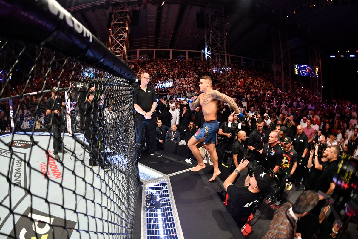 Dustin Poirier prepares to enter the Octagon prior to his lightweight championship bout against Khabib Nurmagomedov of Russia during UFC 242 at The Arena on September 7, 2019 in Yas Island, Abu Dhabi, United Arab Emirates.