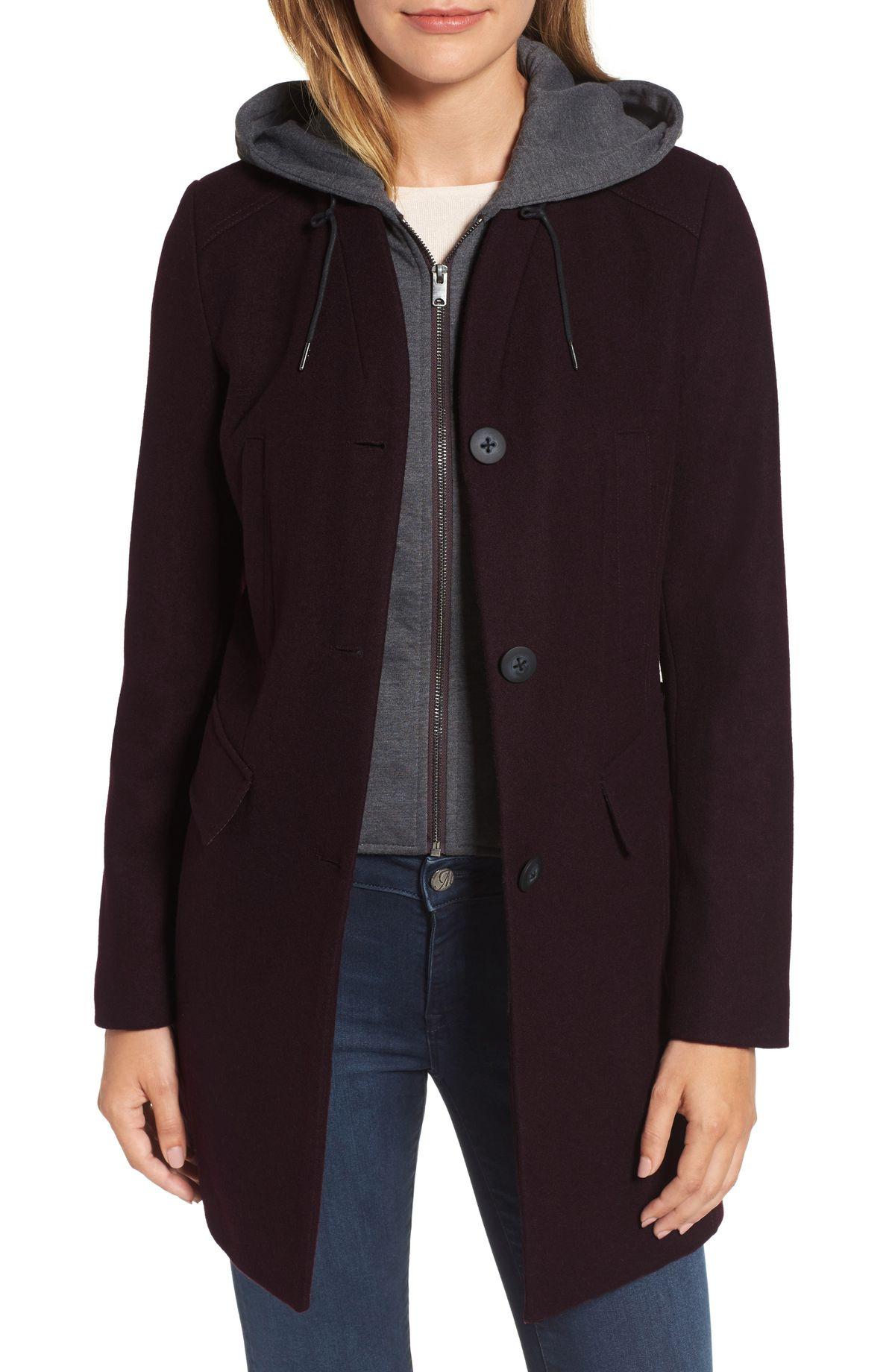 Andrew Marc wool burgundy car coat