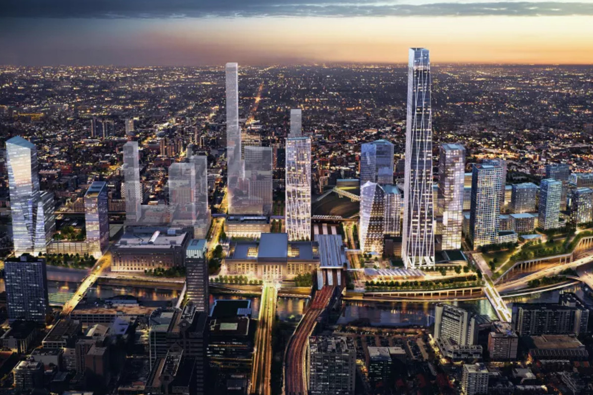 A rendering of the 30th Street Station District Plan at night.