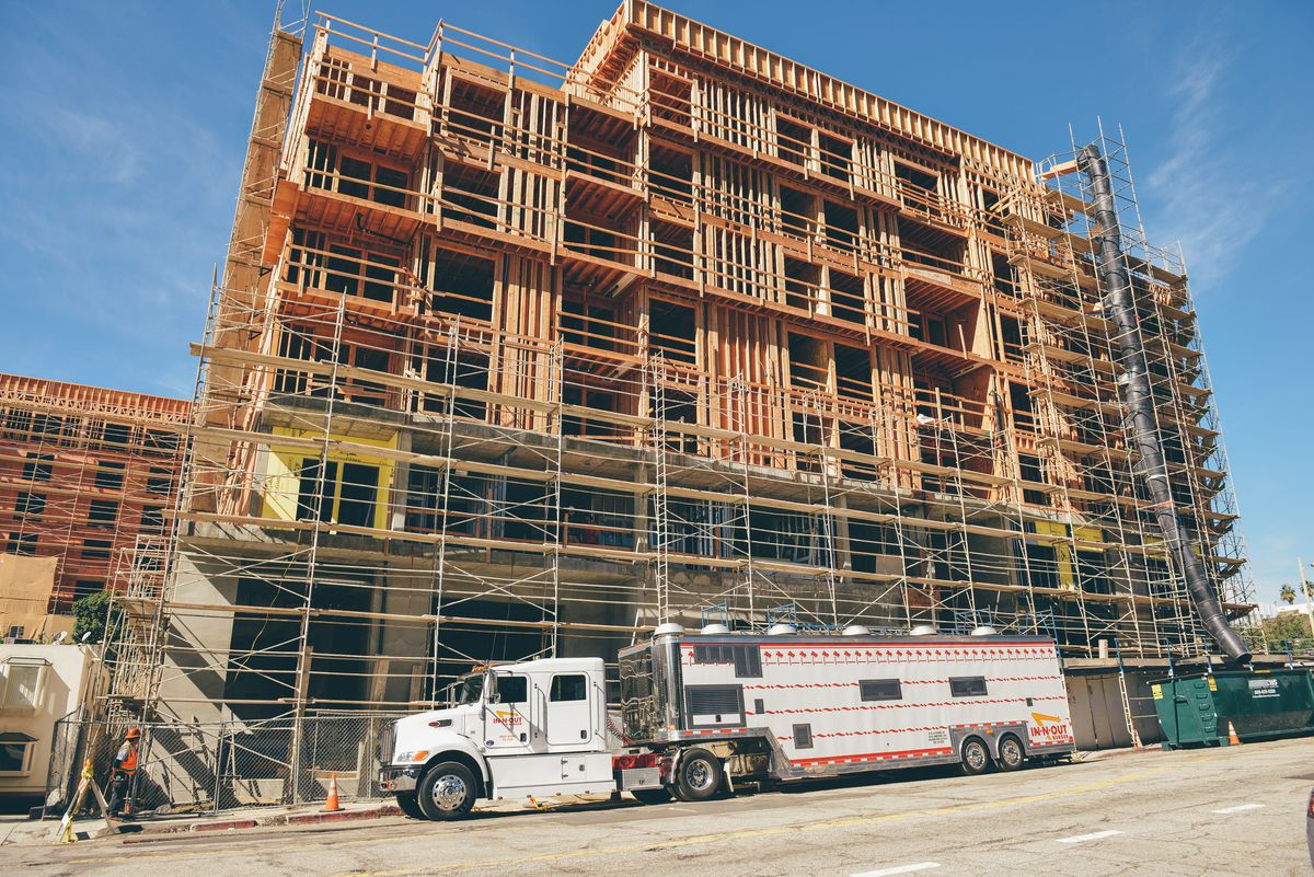 Construction underway on the building