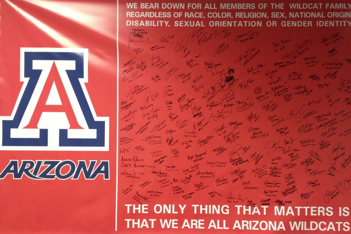 Over 150 Arizona Wildcats signed this banner supporting athletes of any sexual orientation and gender identity.