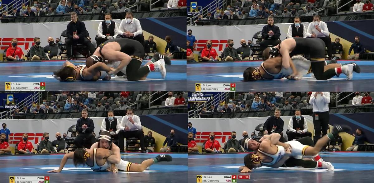 Spencer Lee uses his armbar tilt against Brandon Courtney