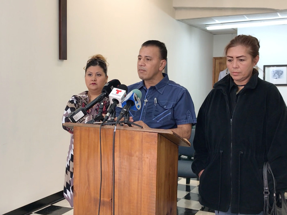 Father Jose Sigfredo Landaverde hosts a press conference on Monday, Oct. 22 to announce his plans to start collecting donations of food, water and clothing to take to the Mexican border to meet the caravan of immigrants coming from Central America. | Emil