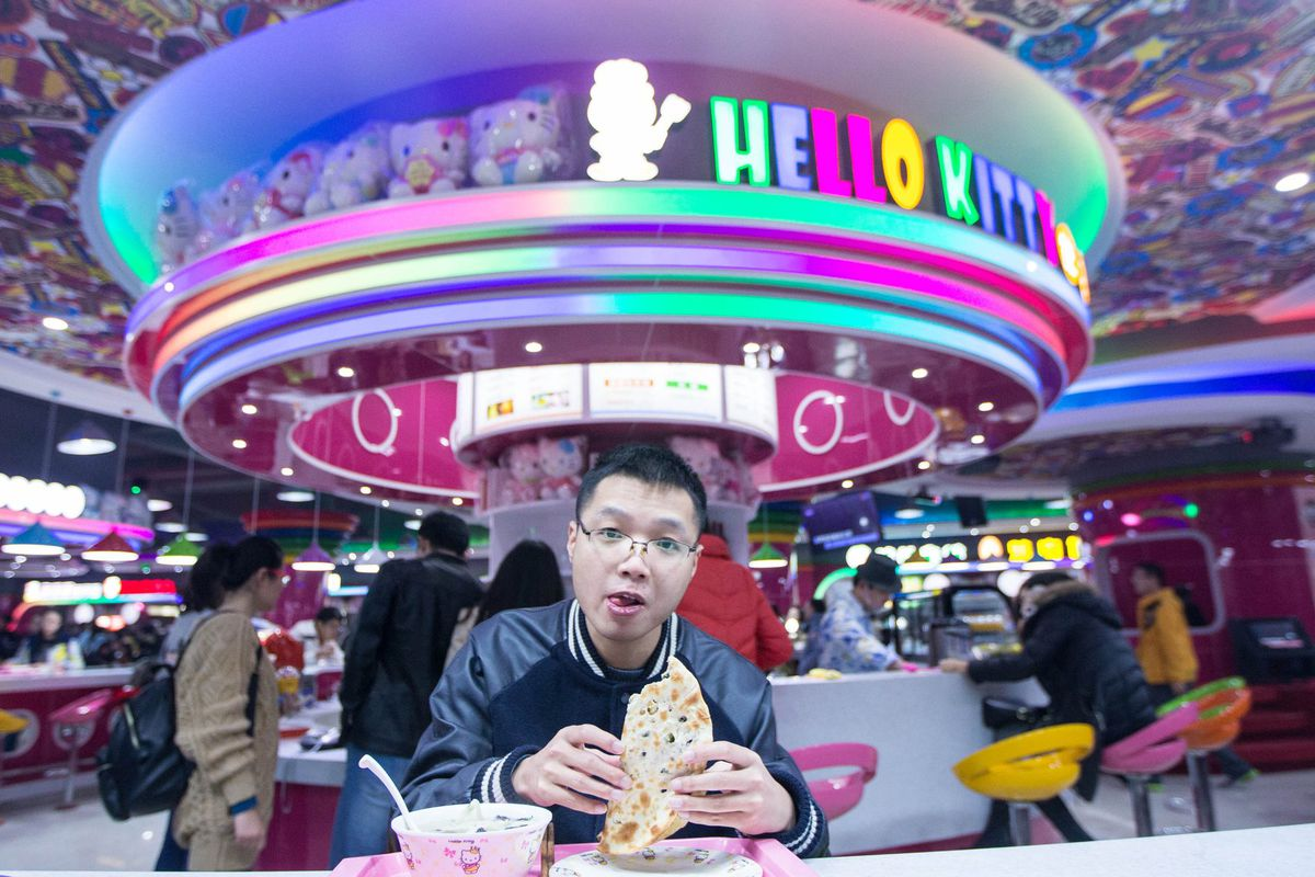 Inside a new Hello Kitty-themed cafeteria in China