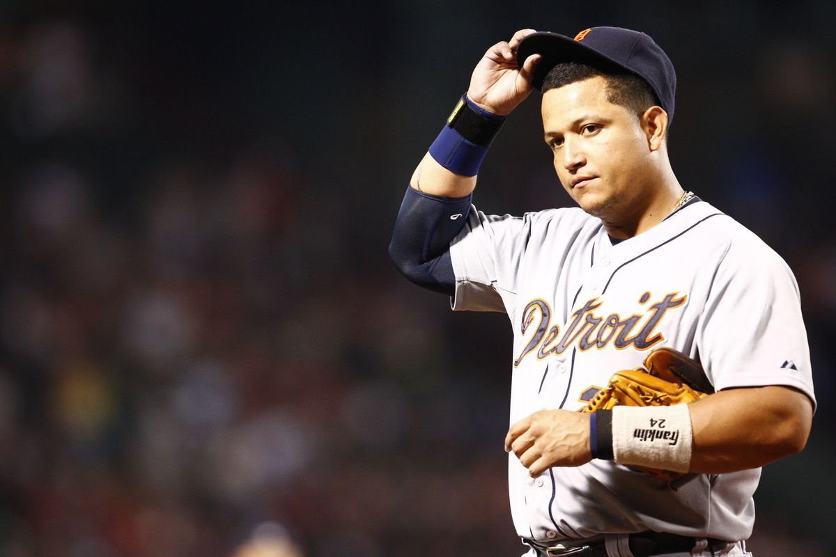 Aug 1, 2012; Boston, MA, USA; Detroit Tigers third baseman Miguel Cabrera (24) during the ninth inning of a game against the Boston Red Sox at Fenway Park.  Mandatory Credit: Mark L. Baer-US PRESSWIRE