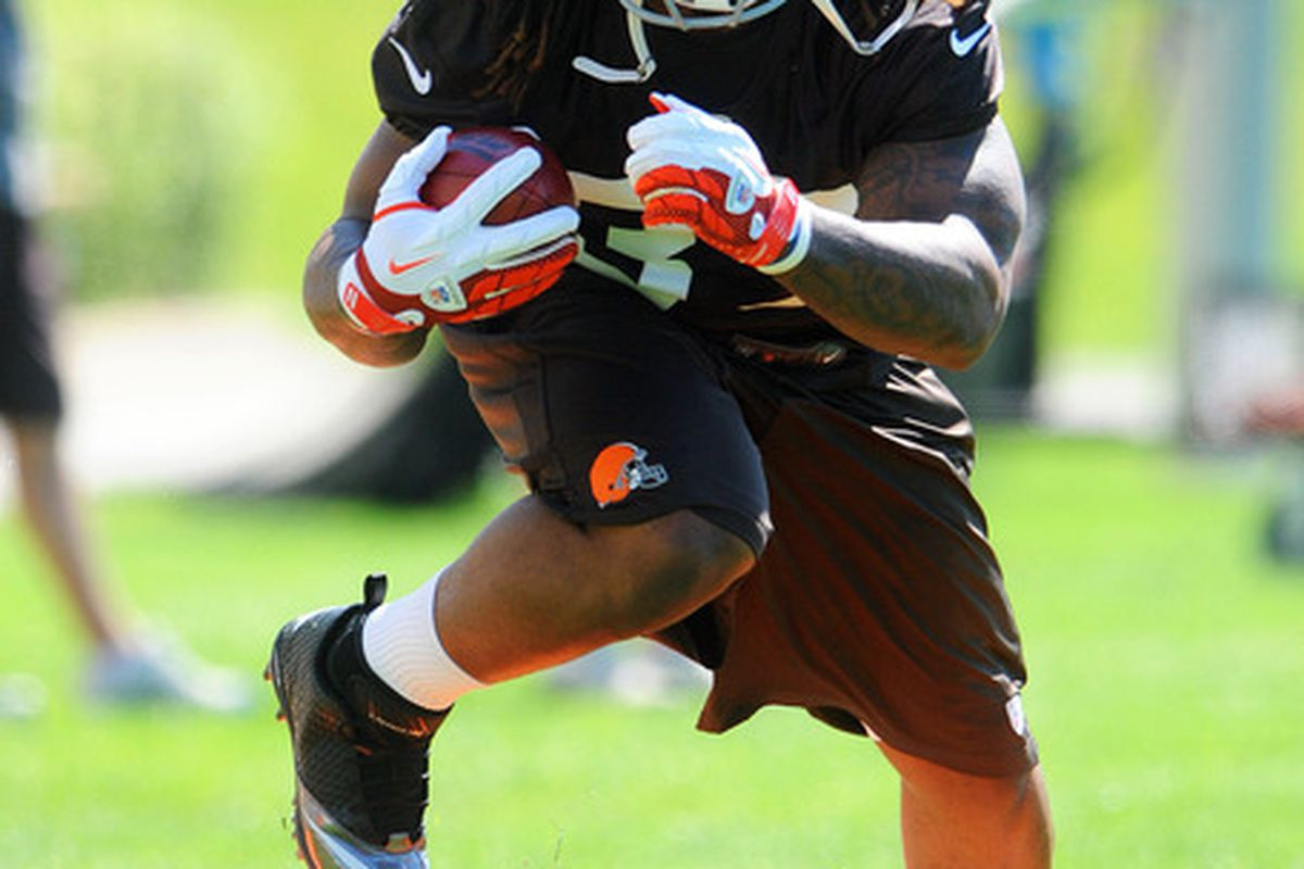 May 11, 2012; Berea, OH, USA: Cleveland Browns running back Trent Richardson (33) works out during rookie camp at the Cleveland Browns training facility.  Mandatory Credit: Eric P. Mull-USPRESSWIRE