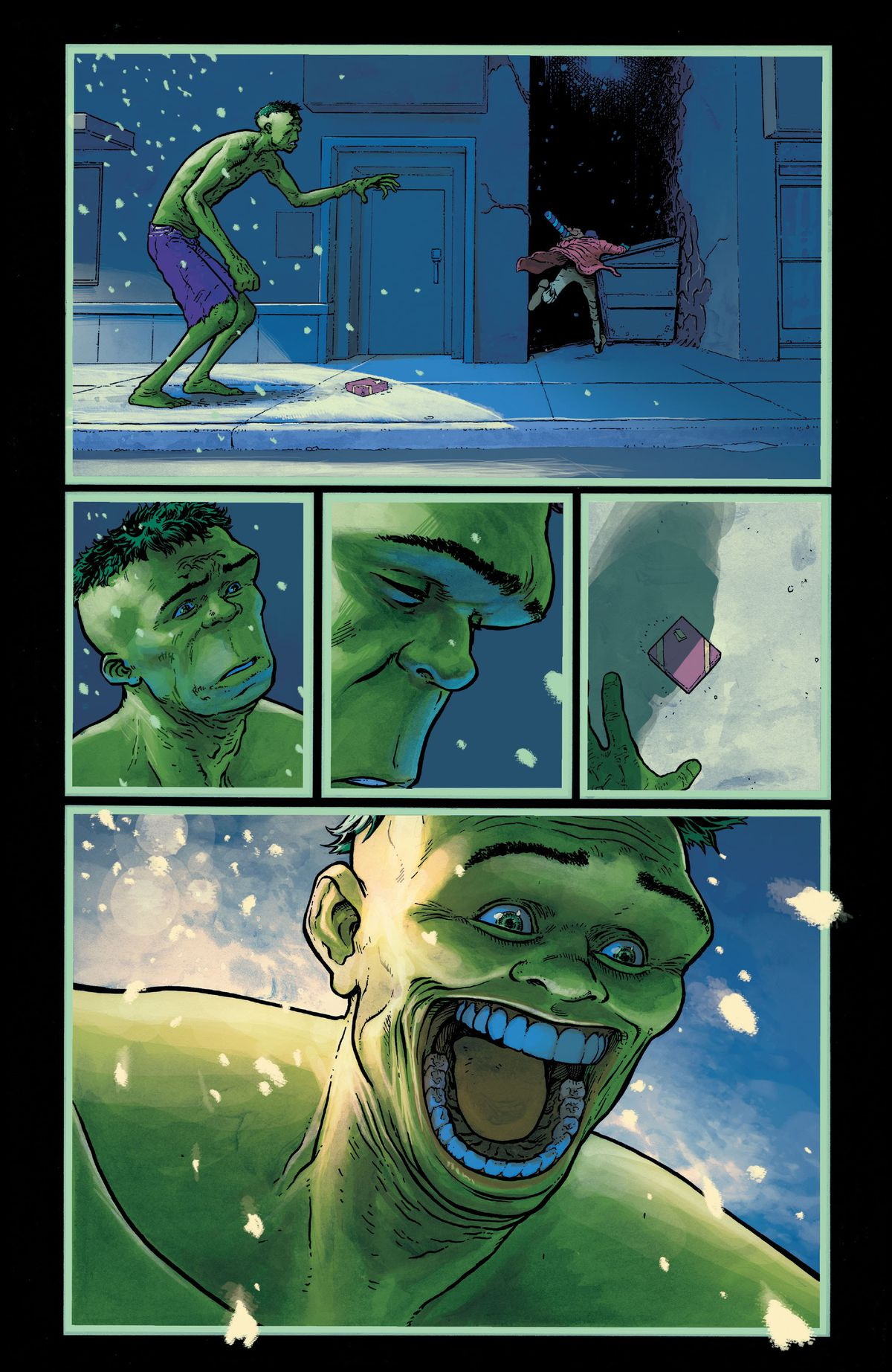 A late night Christmas shopper on a snowy NYC street flees from the Hulk, leaving a wrapped present behind. The Hulk reacts sadly at the man's fear, but then grins huge and grotesquely when he notices the dropped present, in King in Black: Immortal Hulk, Marvel Comics (2020).