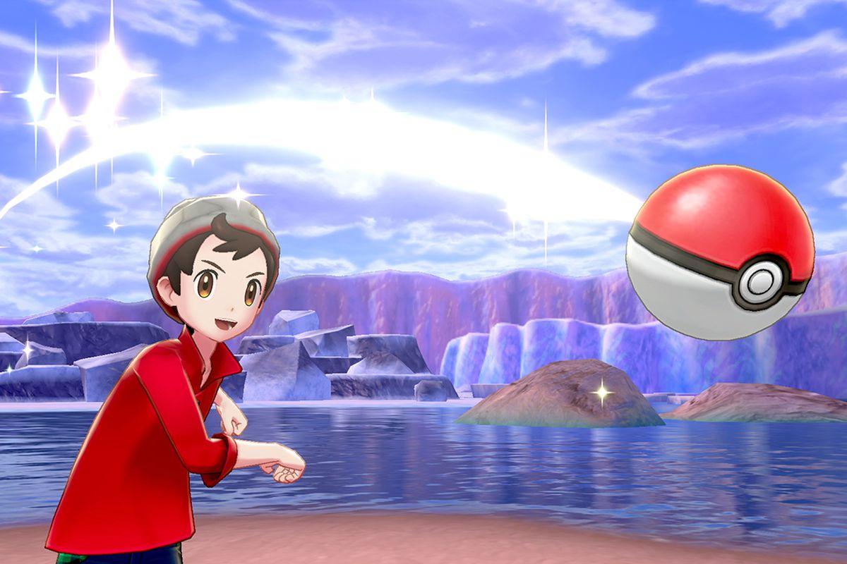 A trainer wearing a red shirt throwing a Poké Ball forward.