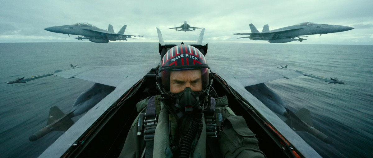 Tom Cruise as Maverick in the cockpit of a fighter jet in Top Gun: Maverick