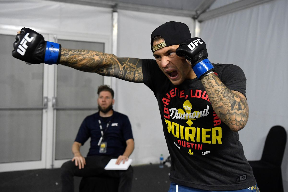Dustin Poirier warms up backstage during UFC 242 at The Arena on September 7, 2019 in Yas Island, Abu Dhabi, United Arab Emirates.