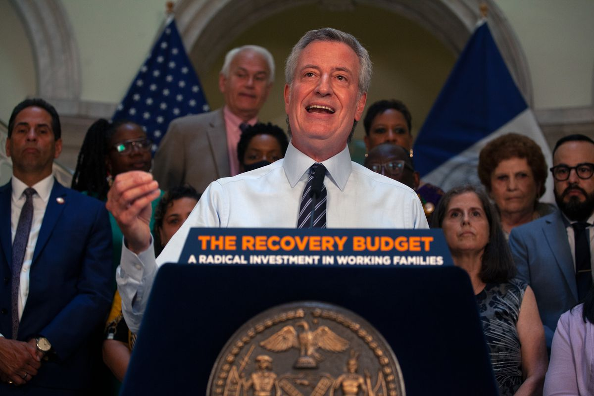 Mayor Bill de Blasio speaks at City Hall about a budget deal reached with the City Council, June 30, 2021.