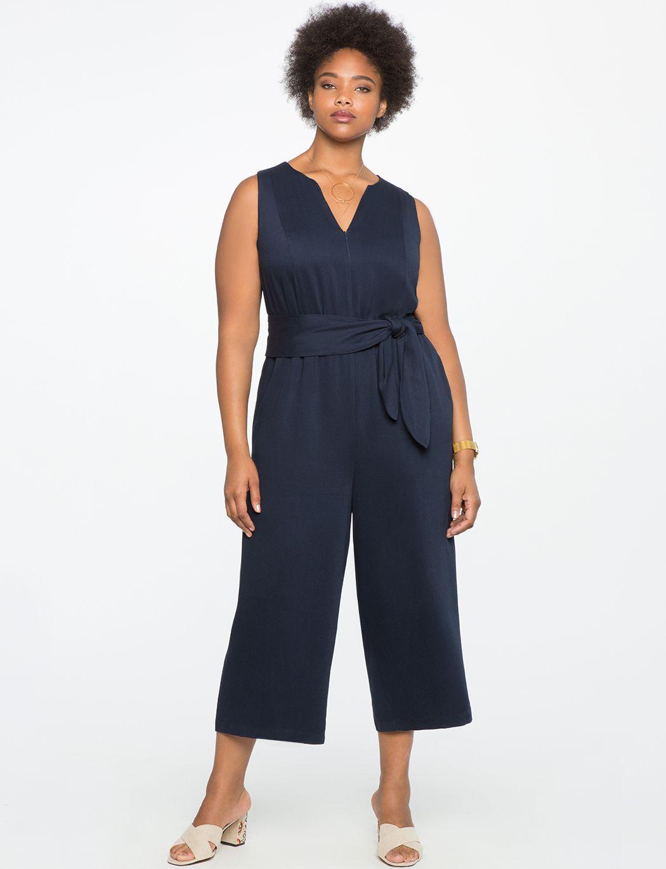Cropped Wide Leg Jumpsuit