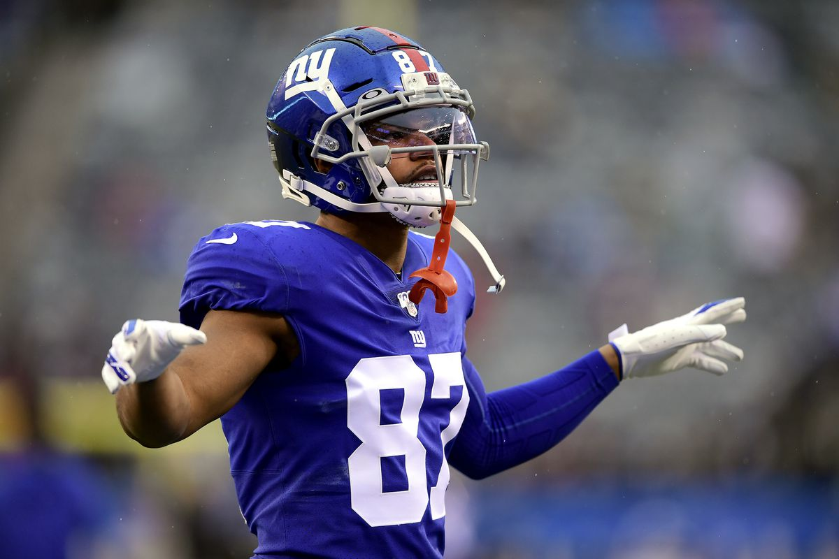 Sterling Shepard #87 of the New York Giants warms up prior to the game against the Philadelphia Eagles at MetLife Stadium on December 29, 2019 in East Rutherford, New Jersey.