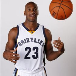 In this Sept. 29, 2014 photo, Memphis Grizzlies guard Patrick Christopher poses for a photo during the team's NBA basketball media day in Memphis, Tenn. (AP Photo/Mark Humphrey)