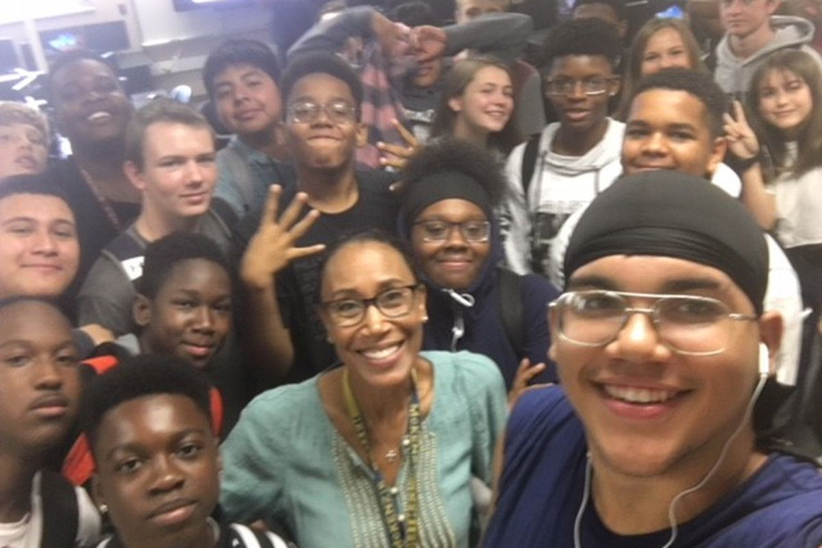 Tamara Markey, a high school engineering teacher in Lawrence Township, Indianapolis, takes a picture with one of her Introduction to Engineering Design classes. Markey is the 2019 Indiana Teacher of the Year.