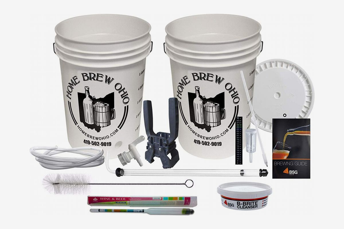A homebrew beer equipment set