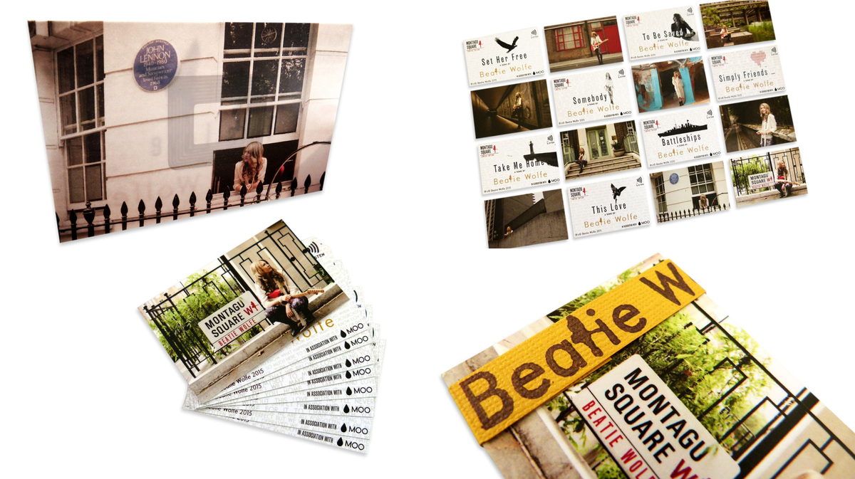 Beatie Wolfe made her latest album available as a deck of NFC enabled business cards, in collaboration with Moo.