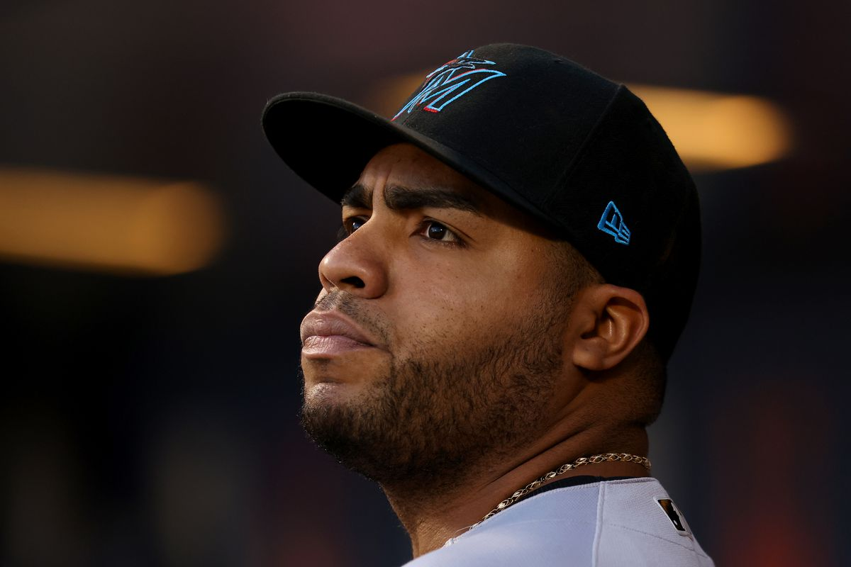 Jesus Aguilar #24 of the Miami Marlins in action against the New York Mets during a game at Citi Field