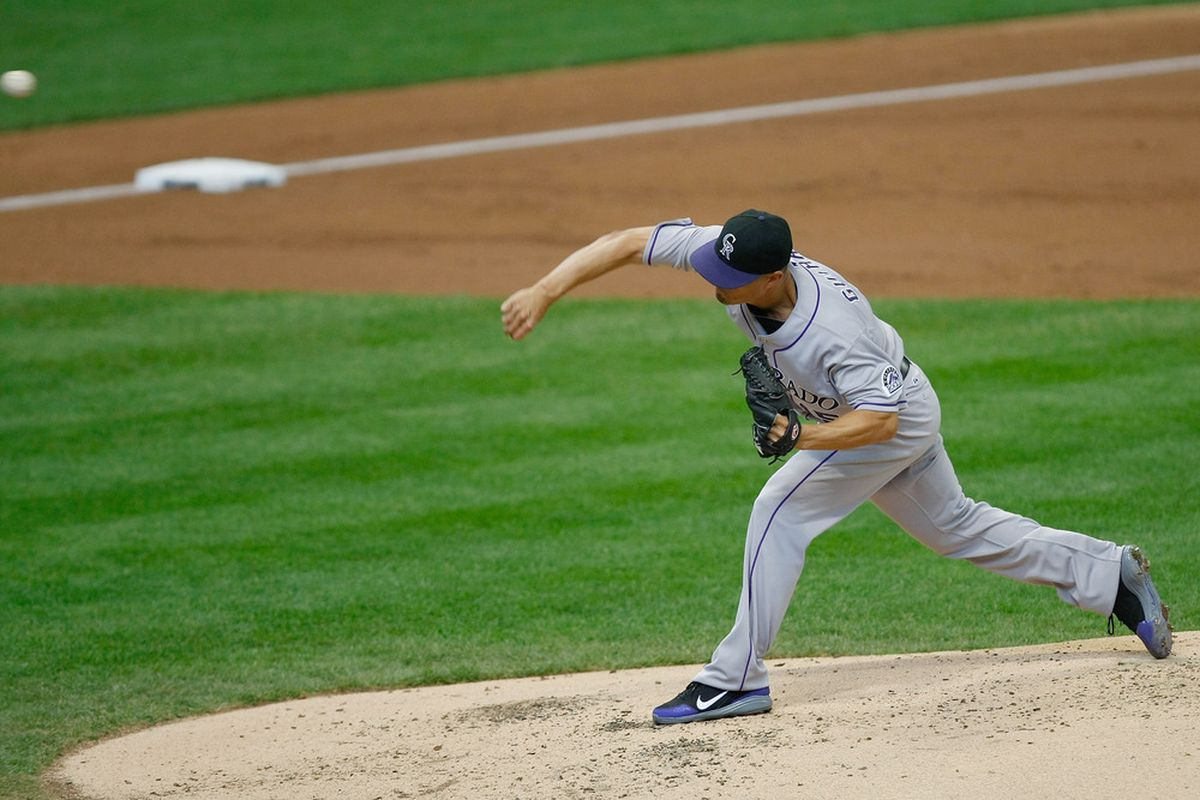 MILWAUKEE, WI - APRIL 22: Jeremy Guthrie #15 of the Colorado Rockies pitches during the game against the Milwaukee Brewers at Miller Park on April 22, 2012 in Milwaukee, Wisconsin. (Photo by Scott Boehm/Getty Images)
